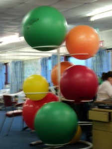 The exercise balls in the physiotherapy room.  Apologies for the fuzziness!