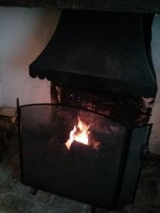 The fire lit